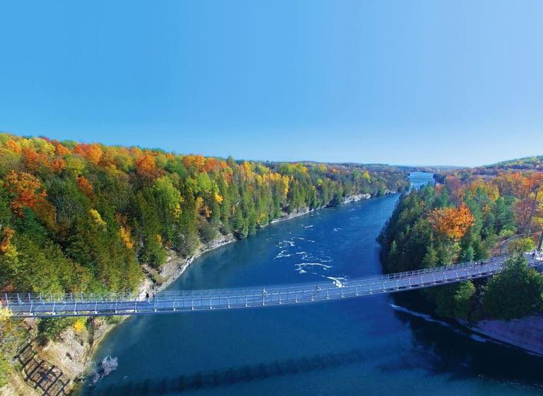 Ranney Gorge Suspension Bridge near Campbellford, Ontario in Northumberland County