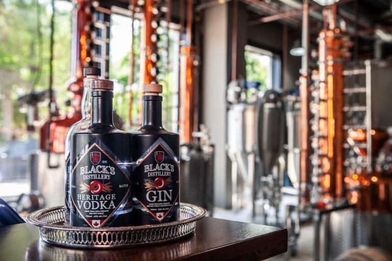 Bottles of spirits at Blacks Distillery