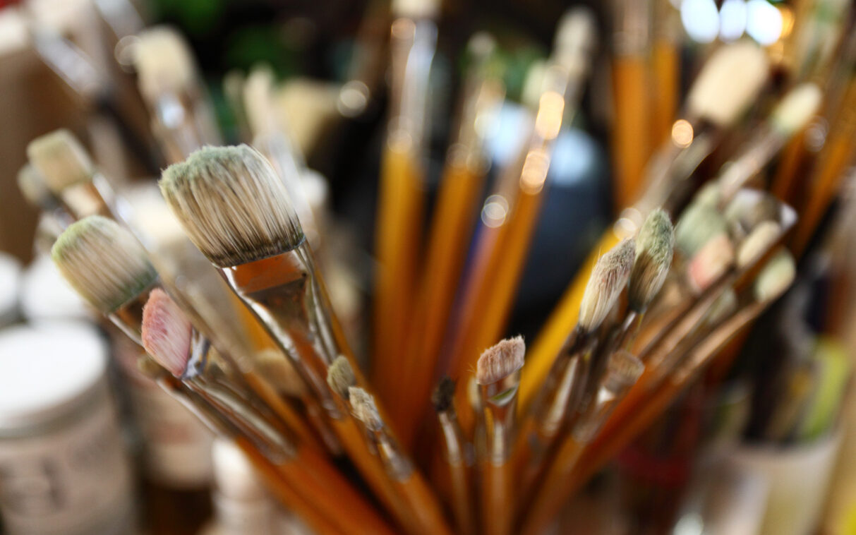 Brushes in a painter's studio