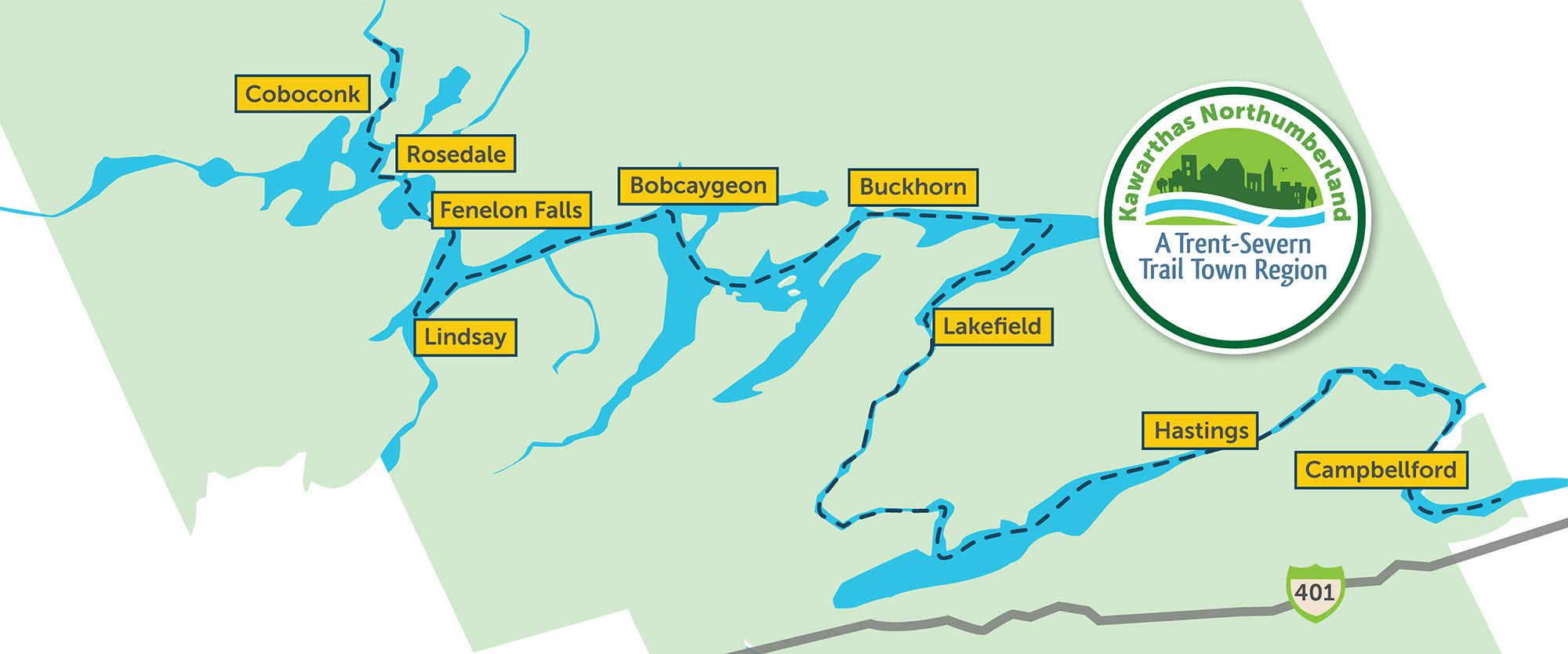 Map of Trent Severn Waterway Trail Towns